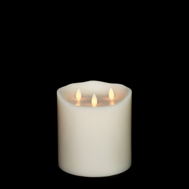 "Liown 6"" Moving Triflame Ivory Unscented Battery Candle 17979"