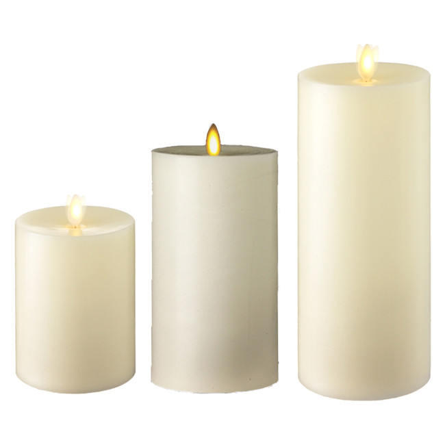"Liown 3.5"" x 5"" or 7"" or 9"" Flat Top Moving Flame Ivory Unscented Pillar Battery Candle"