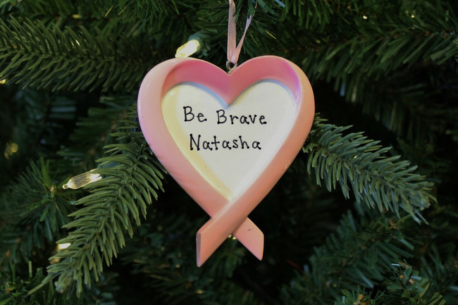Breast Cancer Ribbon Heart Personalized Christmas Ornament