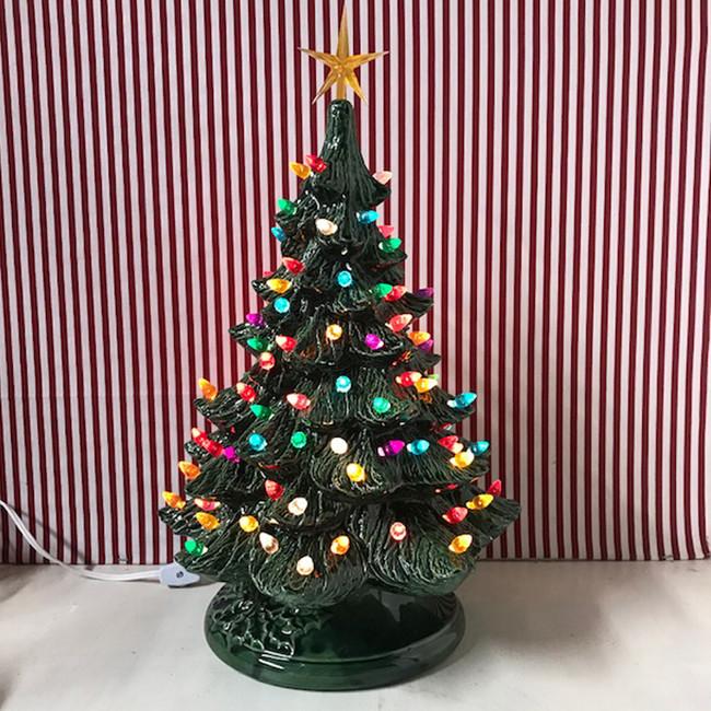 "Medium  Lighted Green Ceramic Christmas Tree 17"""