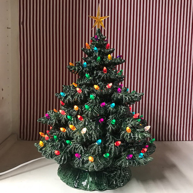 "Sierra Lighted Green Ceramic Christmas Tree 16"""