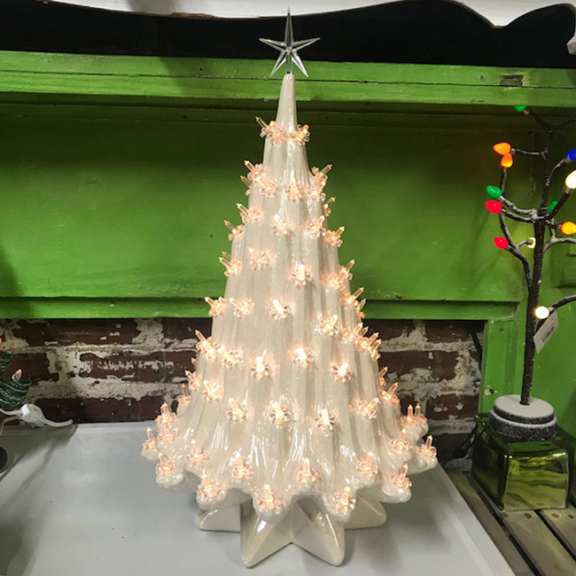 "Large Lighted White Ceramic Ice Christmas Tree 23"""