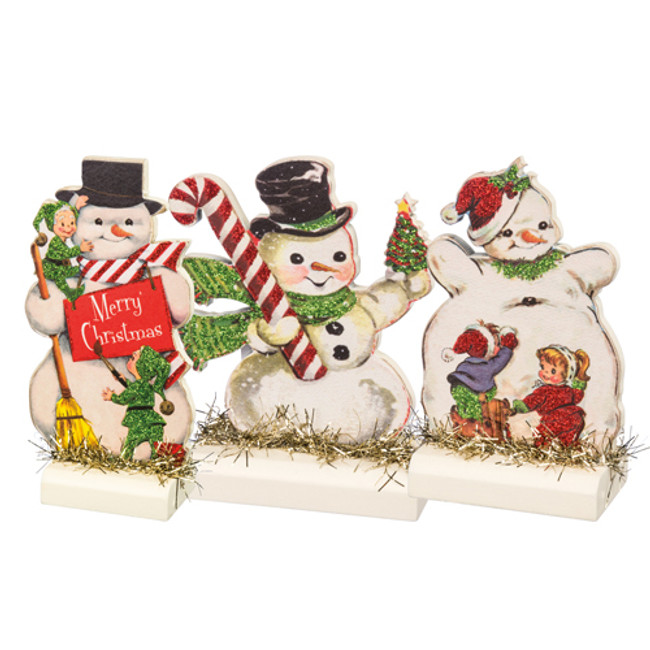 Primitives By Kathy Set of 3 Retro Snowmen Stand Up Christmas Figures 32297