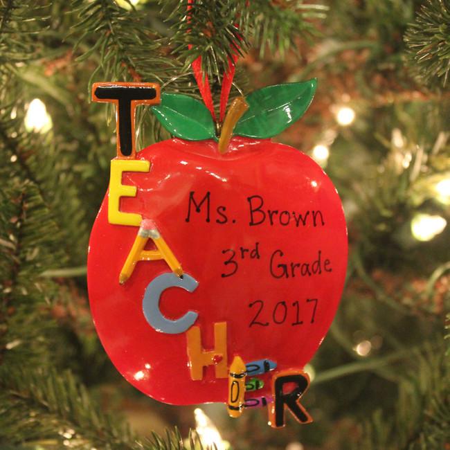 """Kurt Adler 5"""" Teacher's Apple Personalized Christmas Ornament C6559"""