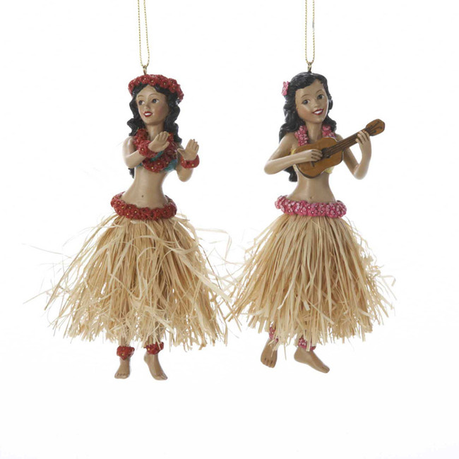 "Kurt Adler 5"" Hula Dancer Christmas Ornament 2 Assorted C8194"