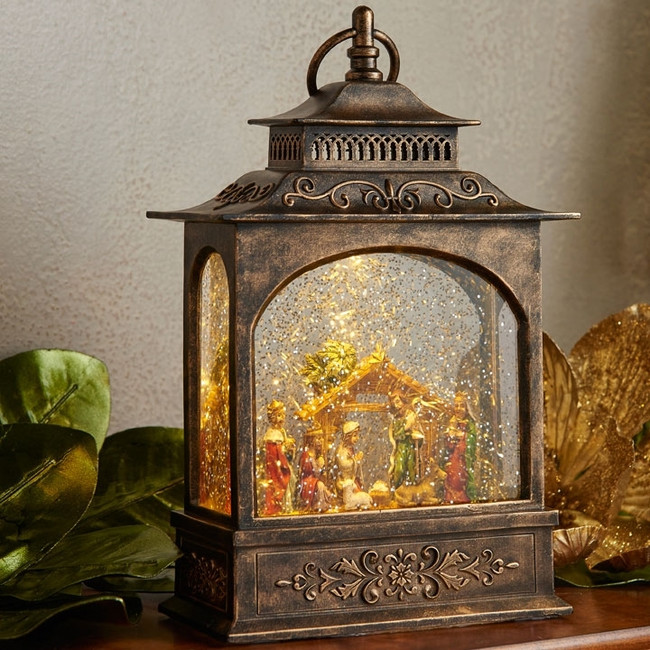 "Raz 11"" LED Lighted Nativity Scene In Bronze Water Globe Lantern Christmas Figure 3740512"
