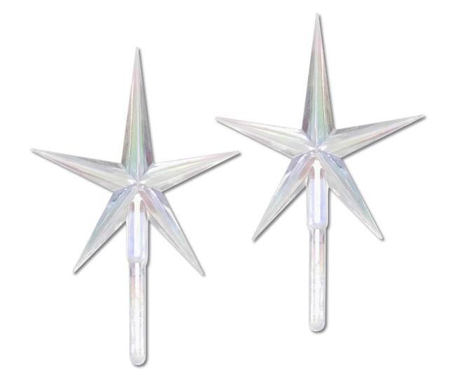 2 Pack Large Clear Iridescent Ceramic Tree Plastic Replacement Star P0679