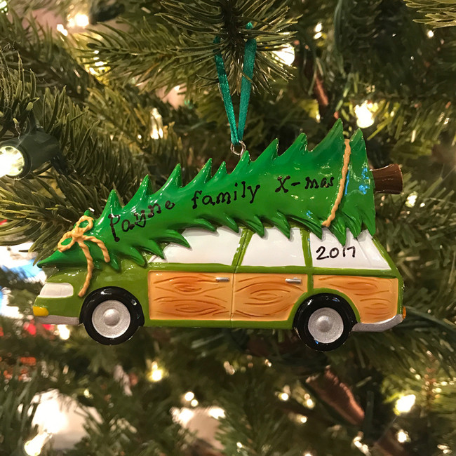 Family Station Wagon with Tree Personalized Christmas Ornament OR1565