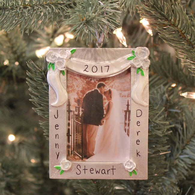 Silver and White Wedding Picture Frame Personalized Christmas Ornament PF958
