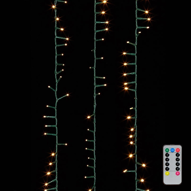 Raz 36.5' Warm White Compact LED 500 Light  Garland w/ Green Wire and Remote G3737065