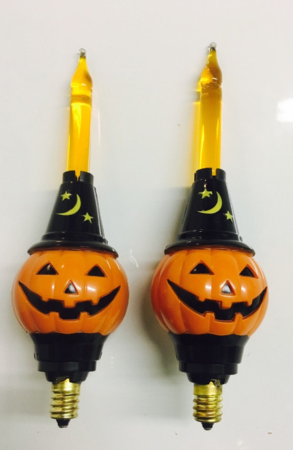 Christopher Radko Shiny Brite Halloween Bubble Pumpkin Light Candolier REPLACEMENT BULBS Set of 2