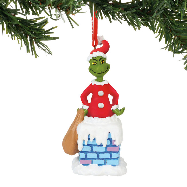 Department 56 Grinch Into The Chimney Musical Christmas Ornament 6000310