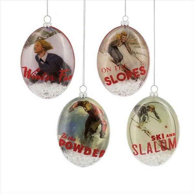 "4.75"" Vintage Ski Oval Disc Glass Christmas Ornament Set of 4 154595"