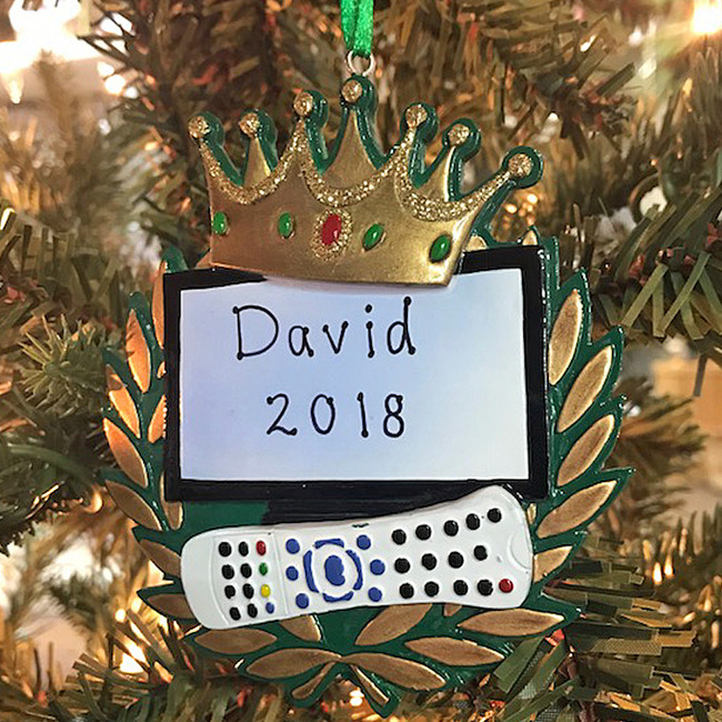 "Kurt Adler 3.75"" King Of The Remote Personalized Christmas Ornament W8213"