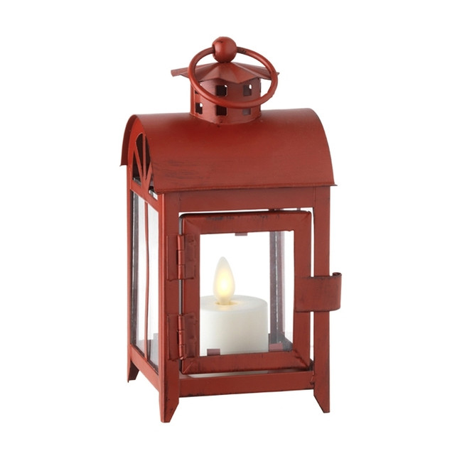 "Liown 6"" Red Metal Lantern with Battery Operated Tea Light 36112"