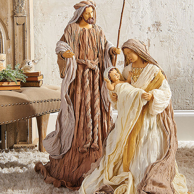 "Raz 35"" Grey and Tan Holy Family Nativity Scene Christmas Figure 3140231"