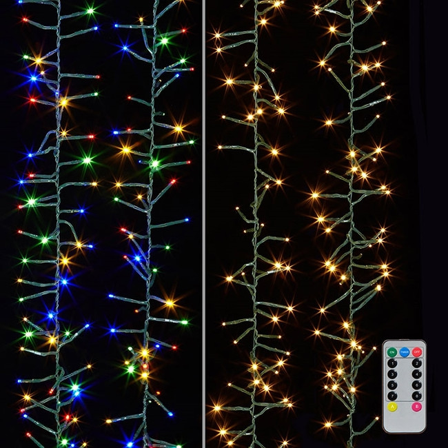 Raz 10' Warm White and Multicolored Compact Cluster Garland Christmas Lights G3837075