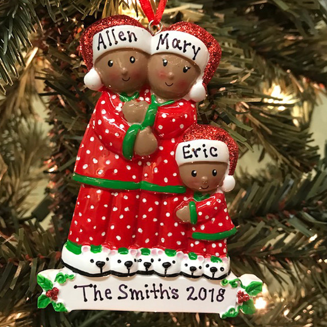 African American Pajama Family of 3 Personalized Christmas Ornament