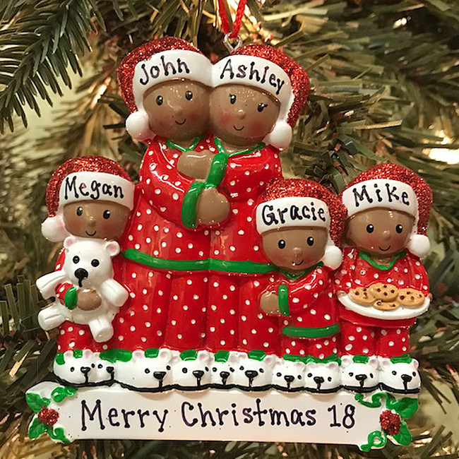 African American Pajama Family of 5 Personalized Christmas Ornament