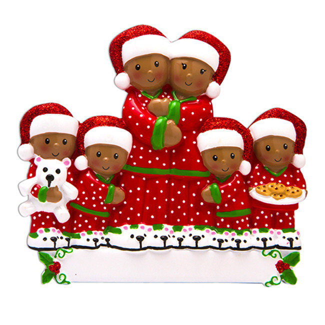 African American Pajama Family of 6 Personalized Christmas Ornament