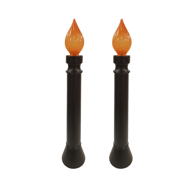 "40"" Set of 2 Lighted Black Candle Blow Mold Halloween Decoration 62300"