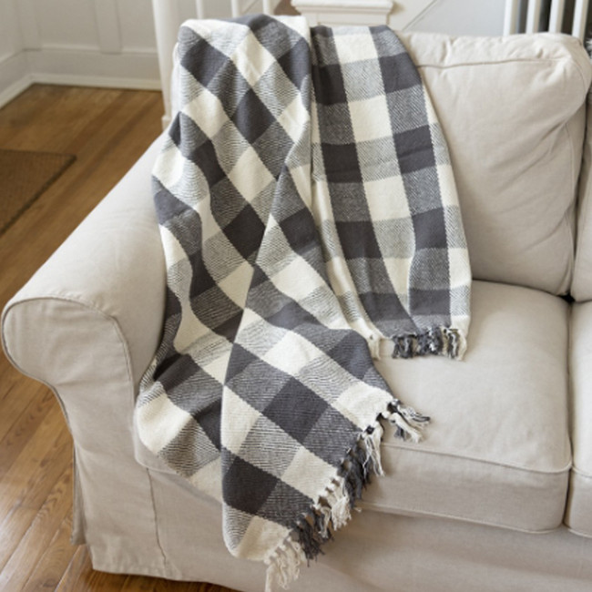 Primitives By Kathy 5' White and Black Buffalo Plaid Checkered Christmas Throw Blanket 39798