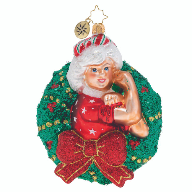 Christopher Radko Women Power Mrs. Claus Wreath Glass Christmas Ornament 1020046