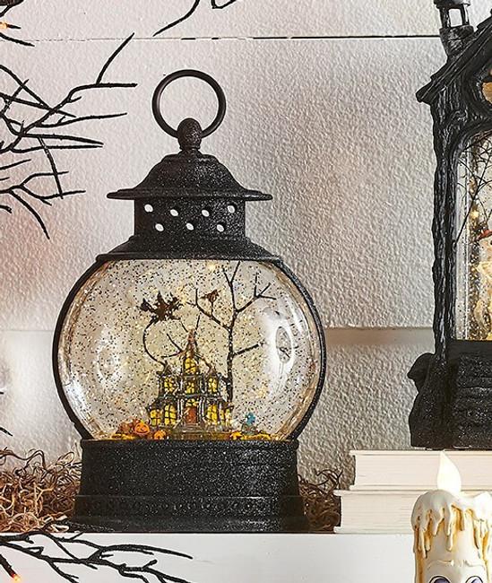 "Raz Imports 10"" Haunted House Halloween Lighted Water Globe Lantern 3900799"