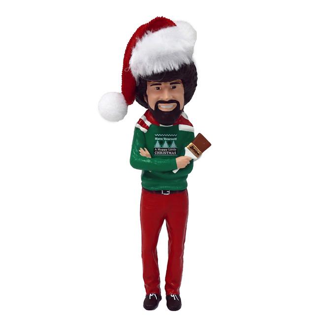 """Kurt Adler 5"""" Bob Ross with Santa Hat Christmas Ornament BO1191"""