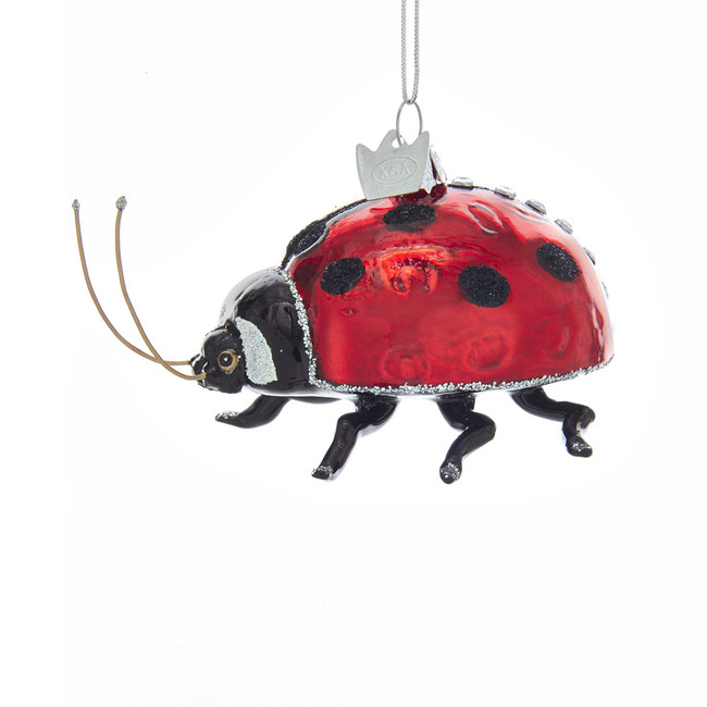 "Kurt Adler Noble Gems 3"" Red Lady Bug Glass Christmas Ornament NB1356"