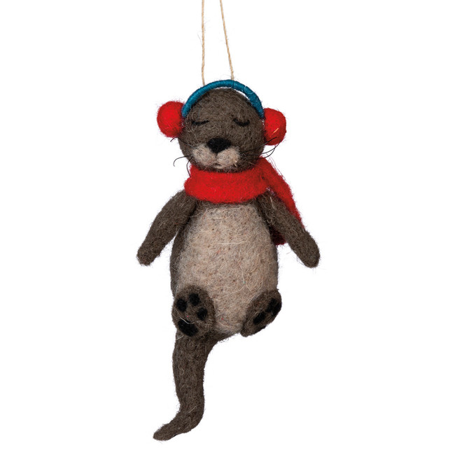 "Primitives By Kathy 5.75"" Felt Otter Christmas Ornament 101310"