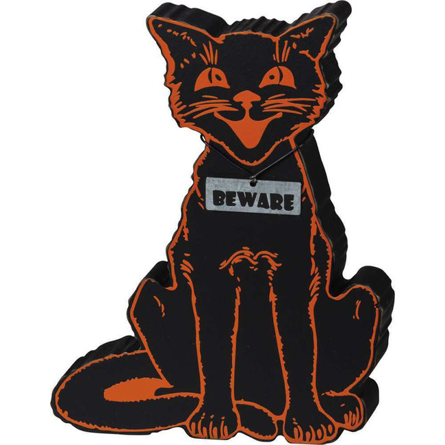 "Primitives By Kathy 6.5"" Black Cat Beware Chunky Sitter Halloween Sign 101874"