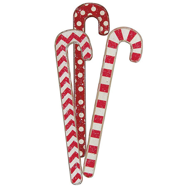 """Primitives By Kathy 9.5"""" Large Wooden Candy Cane Christmas Ornaments Set of 3"""