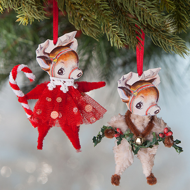 "Bethany Lowe 4"" Retro Chenille Reindeer Christmas Ornament Set of 2 LO8200"