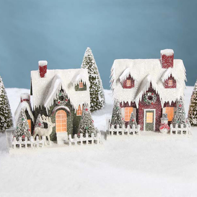 Bethany Lowe Large Lighted Vintage Putz Christmas House LC4591