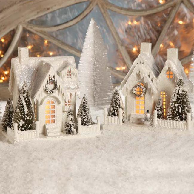 """Bethany Lowe 9"""" Large Vintage Ivory Cottage Christmas House LG1775"""