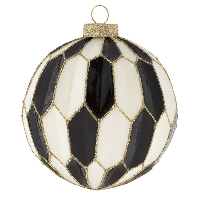 Kat + Annie Black, White, and Gold Faceted Glass Christmas Ornament 73229