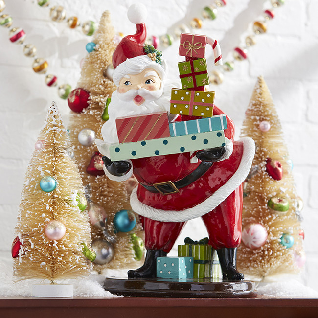 "Raz 14.75"" Retro Santa with Present Christmas Figure 3910286"