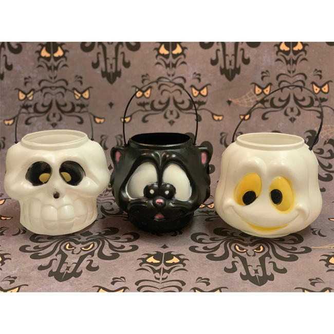 "6"" Ghost, Skull, or Black Cat Halloween Blow Mold Candy Pails"