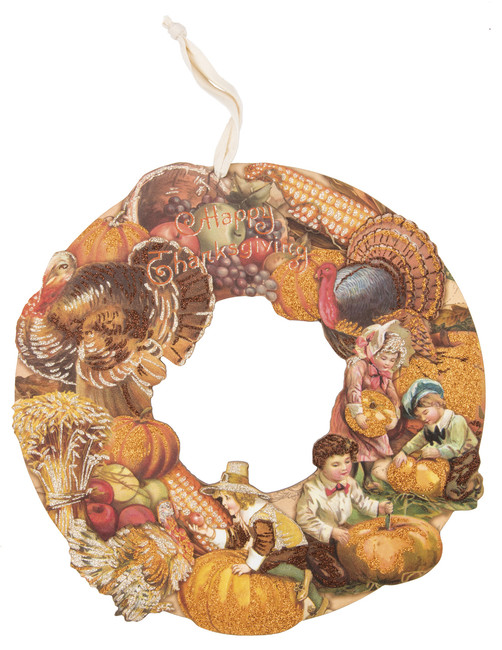 "NEW Primitives By Kathy 14"" Turkey Wooden Die-cut Thanksgiving Wreath 30320"