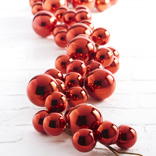 Raz 4' Large Red Ball Christmas Garland G3216179