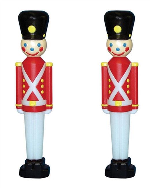 """Set of 2 31"""" Toy Soldier with Black Hat Plastic Blow Mold Outdoor Christmas Decoration 76440"""