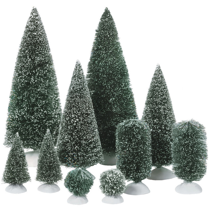 Department 56 Bag of Frosted Topiaries & Trees Accessory 10pc Set