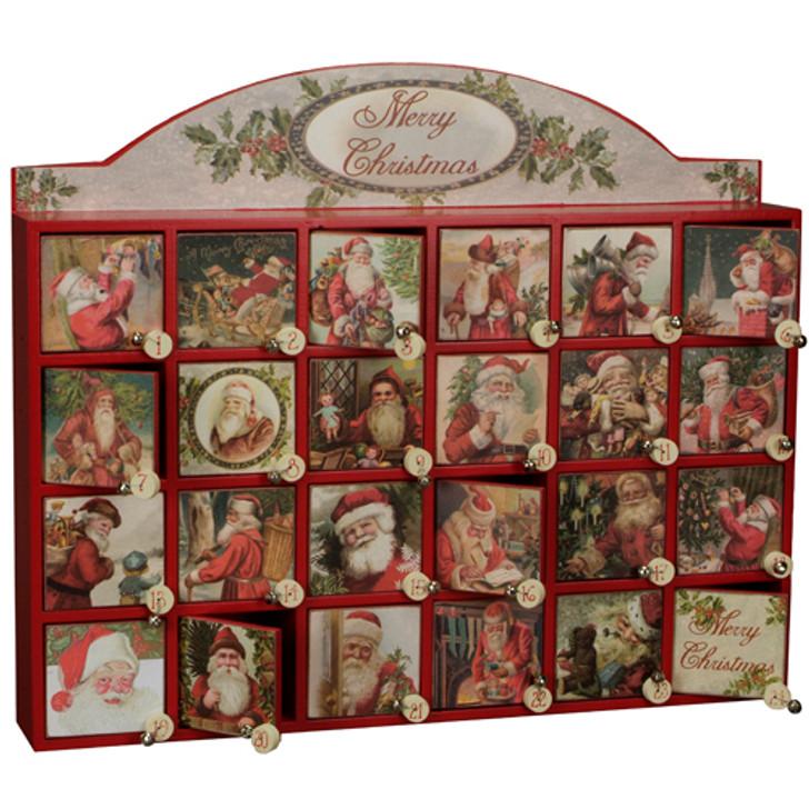Vintage Inspired Merry Santas Wooden Advent Calendar 45207