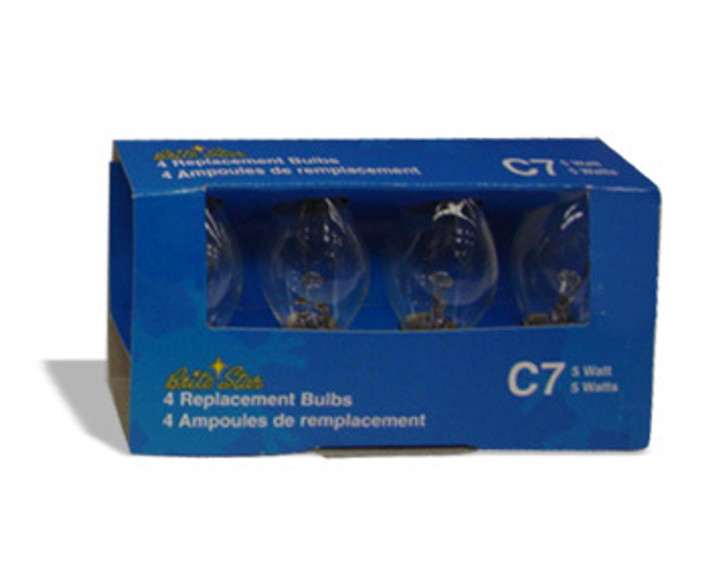 4 pk Clear C7 Replacement Bulbs