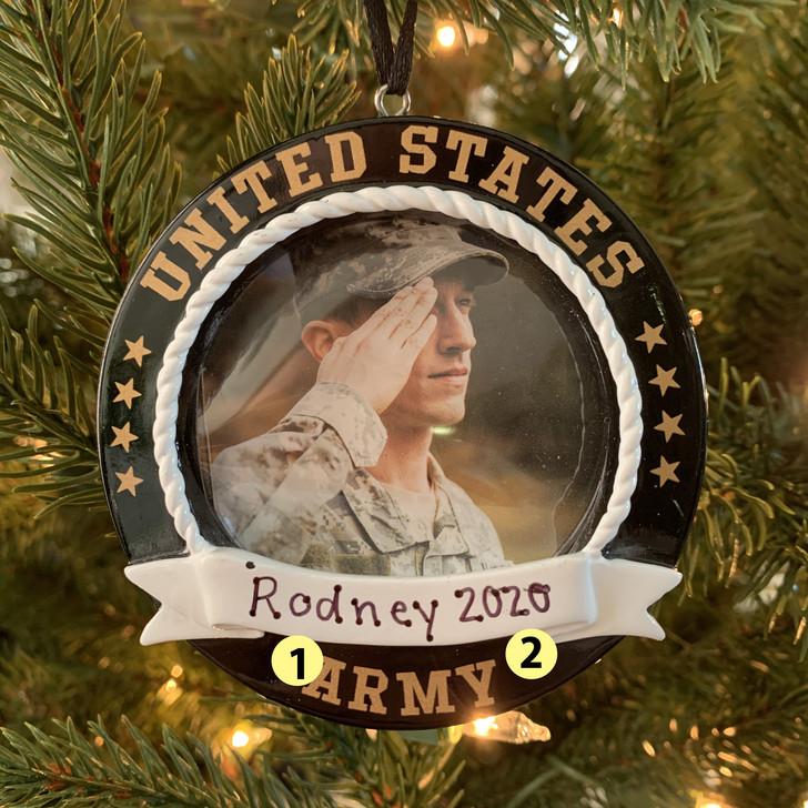 Personalized Black Army Frame Christmas Ornament -2