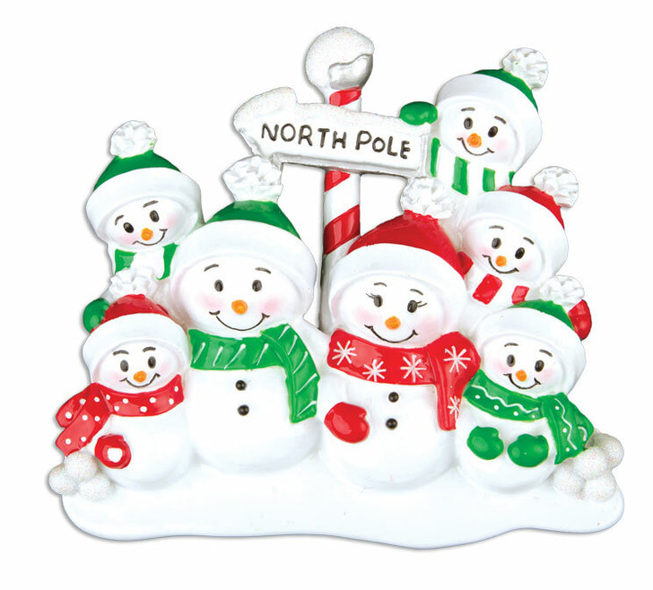 Family Personalized Christmas Ornament with 7 Snowmen