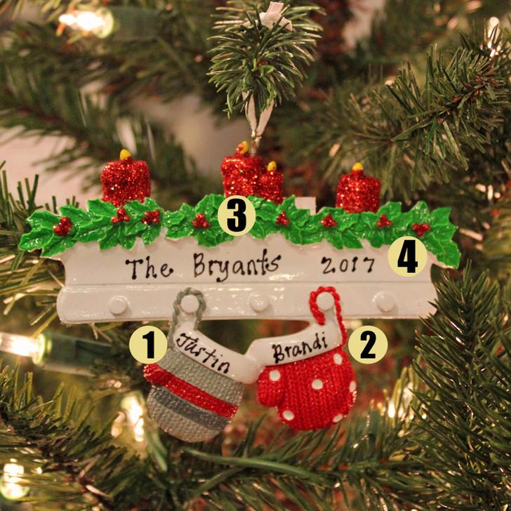 Familie-personlig julepynt med 2 votter
