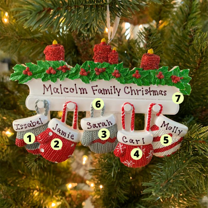 Family Personalized Christmas Ornament with 5 Mittens -2