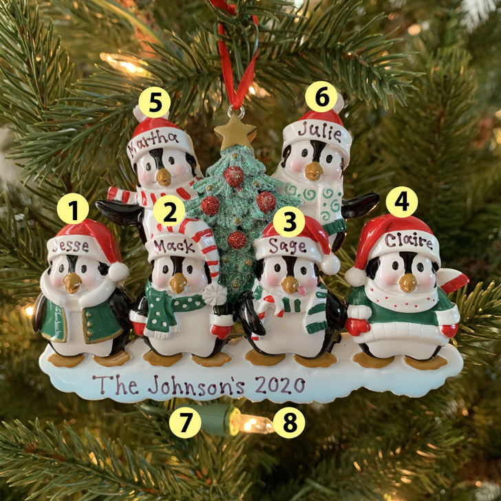 Family Personalized Christmas Ornament with 6 Penguins -2